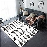 Vanfan Design Home Decorative gun icons set Modern Non-Slip Doormats Carpet for Living Dining Room Bedroom Hallway Office Easy Clean Footcloth