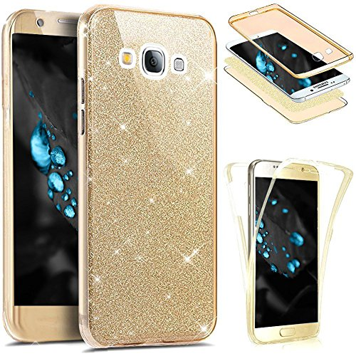 PHEZEN for Samsung Galaxy J1 2016 Case,Galaxy Luna Case,Galaxy Amp 2 Case,Express 3 Case, Front and Back 360 Full Body Coverage Bling Glitter Shiny Soft TPU Silicone Protective Case (Gold)