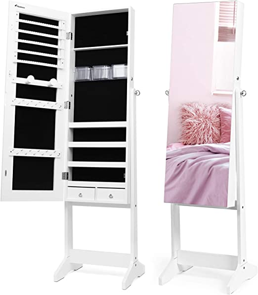 Amazon Com Nicetree Jewelry Cabinet With Full Length Mirror Standing Lockable Jewelry Armoire Organizer 3 Angel Adjustable White Home Kitchen