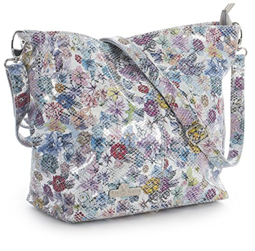 ADAL Shoulder Italian Storage Silver Womens Hobo Genuine Medium Bag Floral Metallic Leather Snake LIATALIA Protective with Bag F7xRYgY