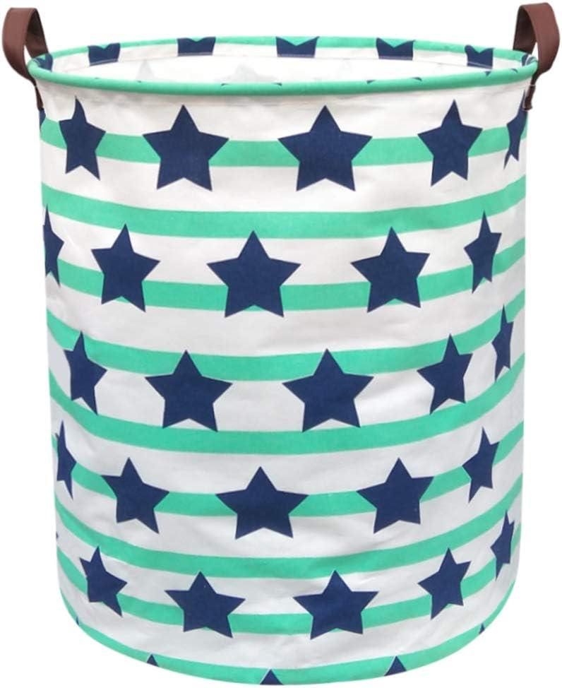 BOOHIT Cotton Fabric Storage Bin,Collapsible Laundry Basket-Waterproof Large Storage Baskets,Toy Organizer,Home Decor (Pentagrams)