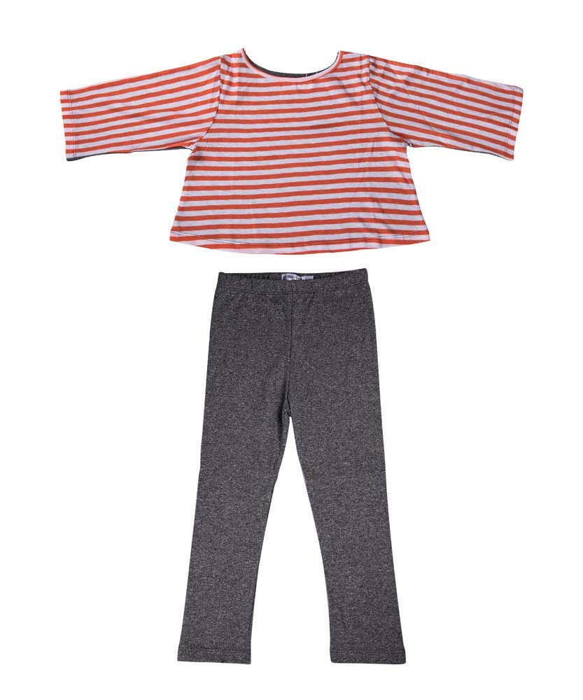 Piccolo Piglet Chic Set, Orange White Striped Crop Top and Grey Tights for Baby Girls (18-24 Months) by Piccolo Piglet