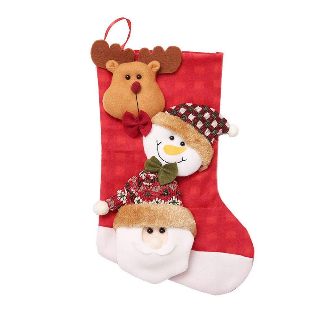 Christmas Tree Decorations, Jchen(TM) Happy Year Christmas Stocking Sock Candy Gift Bag Xmas Tree Hanging Ornament (A)