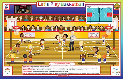 (Tot Talk Basketball Activity Educational Placemat for Kids, Washable and Long-Lasting)