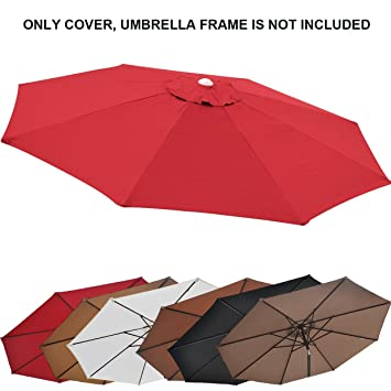 Replacement Patio Umbrella Canopy Cover For 9ft 8 Ribs Umbrella Burgundy  (CANOPY ONLY)