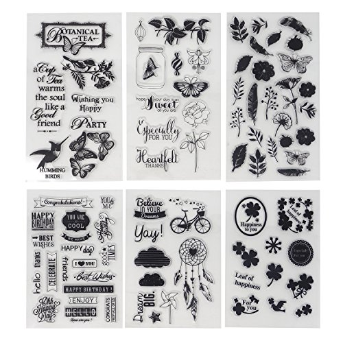 (Honbay 6 Sheets Different Theme Friendly Phrases Pretty Patterns Silicone Clear Stamps for Card Making Decoration and)
