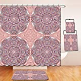 Nalahome Bath Suit: Showercurtain Bathrug Bathtowel Handtowel Arabian Decor Collection Arabesque Round Patterns in Oriental Islamic Eastern Persian Religious Motif Artprint Pink Teal