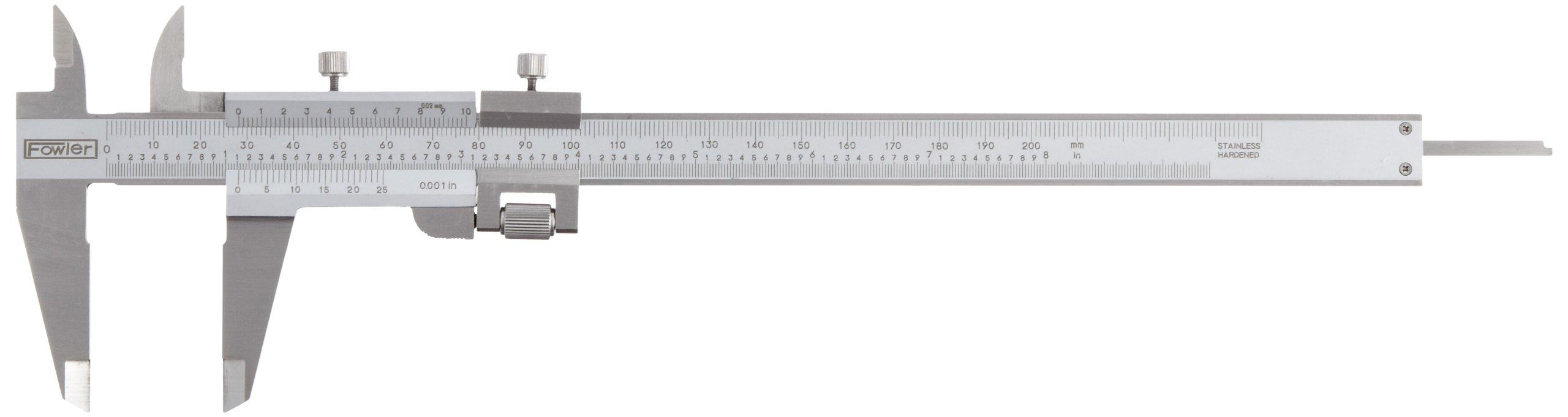 Fowler 52-058-008 Stainless Steel Fine Adjustment Vernier Caliper with Satin Chrome Finish, 0-8''/0-200mm Measuring Range, 0.001''/0.02mm Graduation