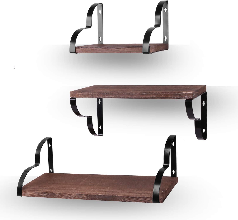 Teamkio Easy Mounting 3PCS Wide Wood Wall Floating Shelves, Decorative Wood Storage Shelves, Display Shelves for Living Room, Bedroom, Bathroom