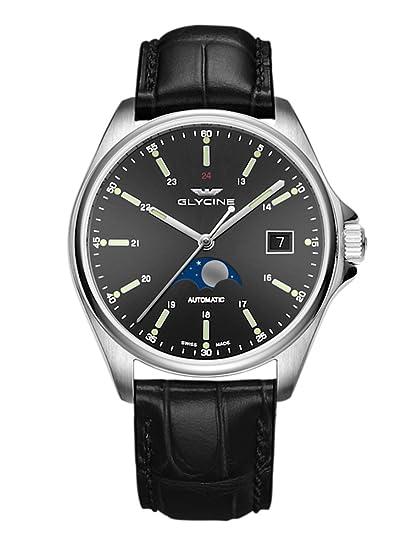 Glycine Combat Classic Moon Phase Fecha Fase lunar - Reloj de pulsera analógico automático 3948.191.lbk9: Amazon.es: Relojes