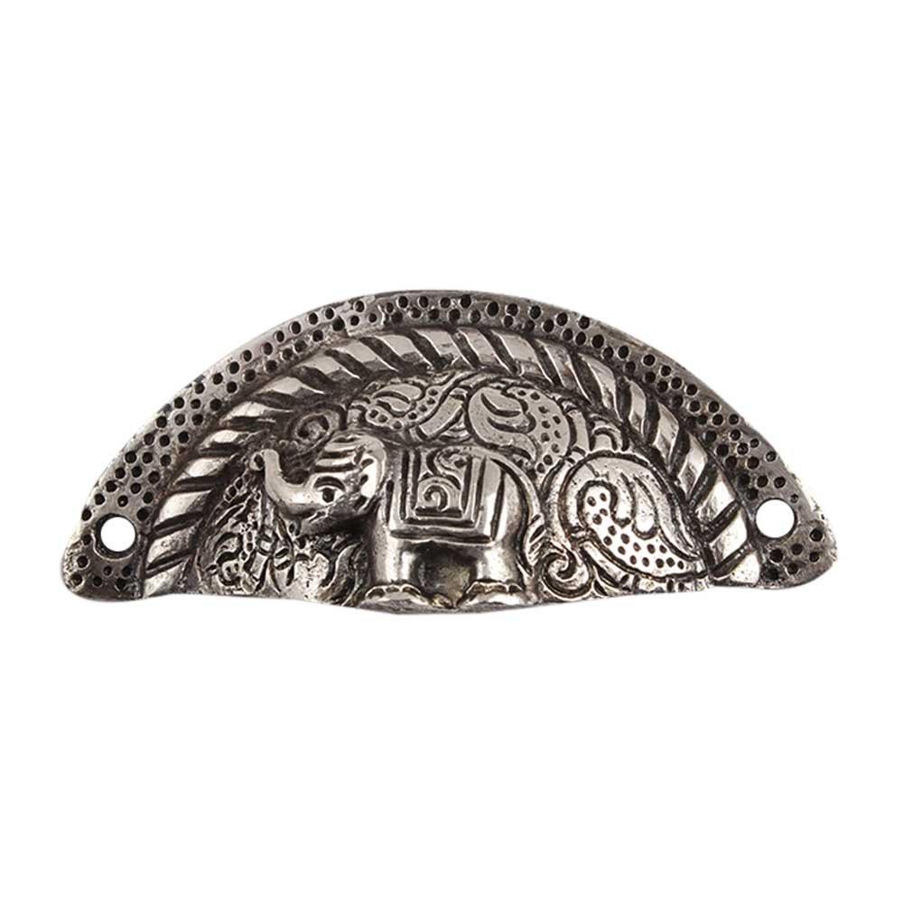 IndianShelf Handmade 2 Piece Aluminum Silver Elephant D Artistic Designer Drawer Knobs/Cabinet Pulls