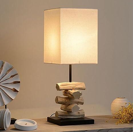 Aoligei Moderno madera lámpara de mesa dormitorio mesitas de ...