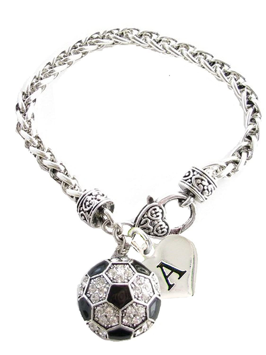 Custom Crystal Soccer Ball Silver Bracelet Jewelry Choose Your Initial All 26