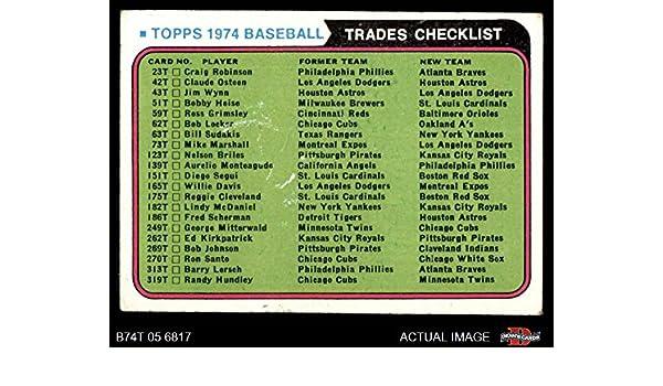 Amazon com: 1974 Topps Traded Traded Checklist (Baseball