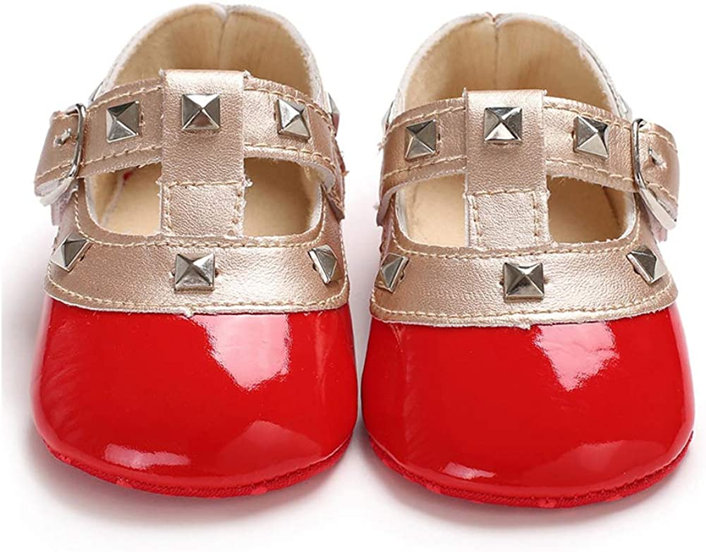 OUTGLE Newborn Baby Girl Mary Janes Shoes Infant Baby Girl T-Strap First Walking Shoe Sandals