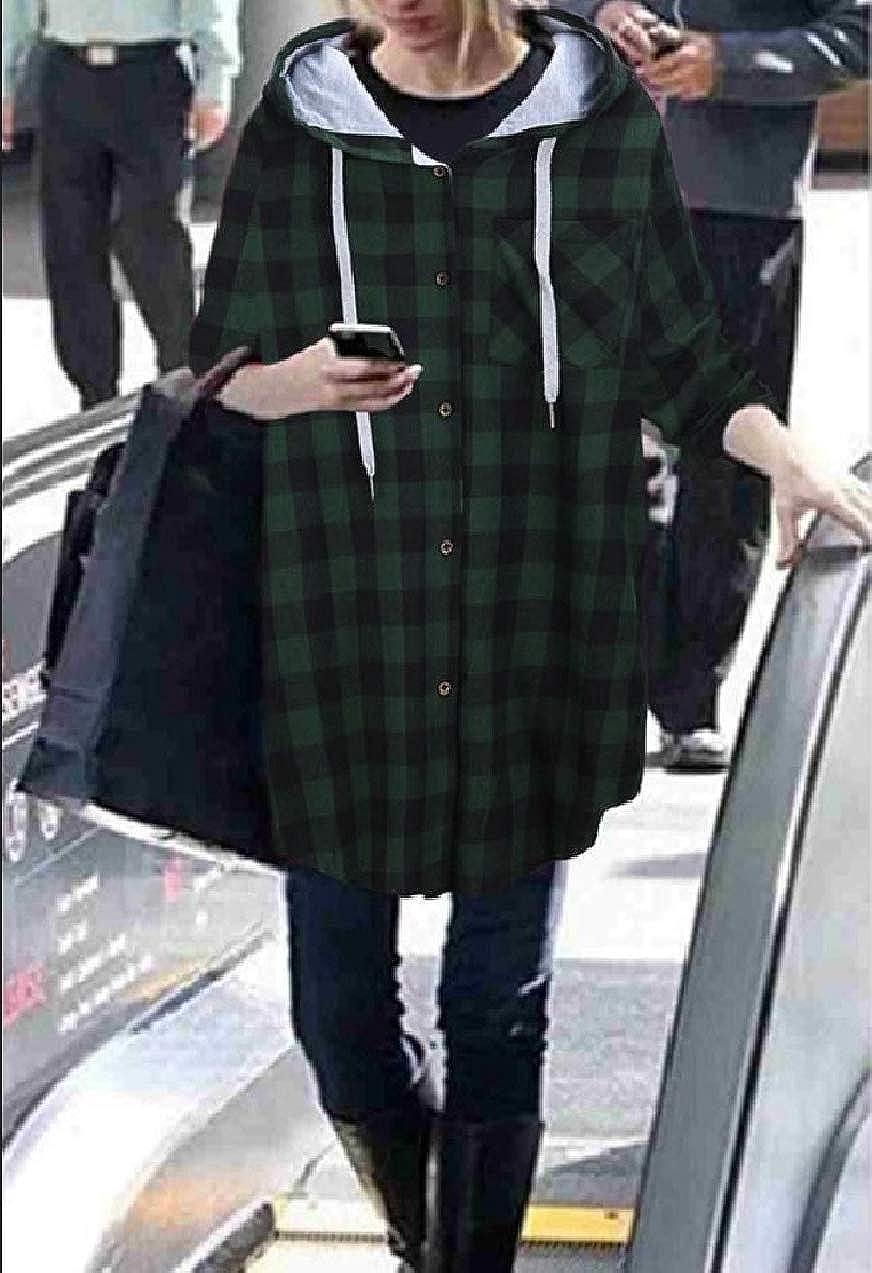 Zimase Womens Hooded Cardi Plaid Oversized Basic Cotton Jacket Coats