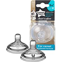 Tommee Tippee Closer to Nature Added Cereal Baby Bottle Feeding Nipple Replacement, Y-Cut Nipple, Breast-like Nipple, 6…