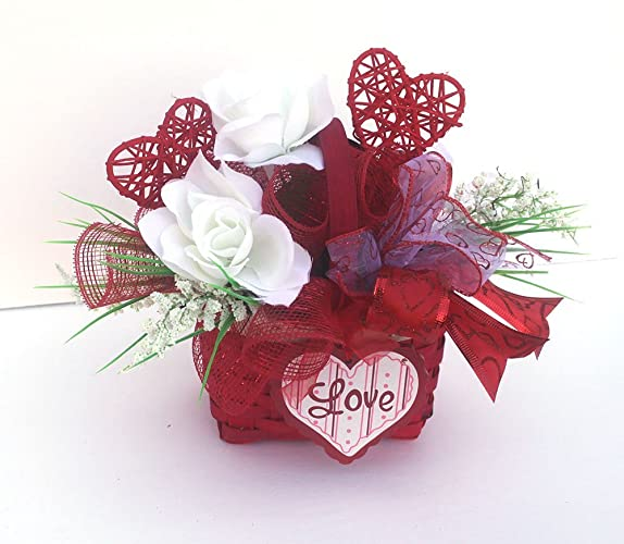 Valentine S Day Table Centerpiece Red Basket Holiday Table Decor Small Winter Arrangement Floral Arrangement Party Decor Hostess Gift