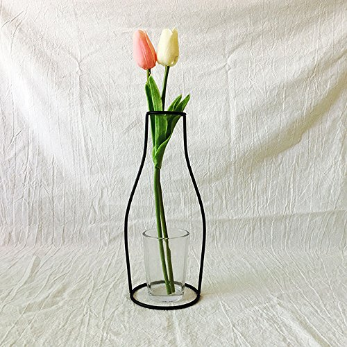 (Gotian Iron Flower Vase Nordic Minimalist Abstract Vase Black Iron Brief Vase Flower Racks Home Ornaments (F))