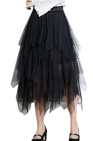b4d48fc1d0dde8 M&S&W Womens High Waist Irregular Mesh Multi-Layer Tutu Midi Skirt Black OS  at Amazon Women's Clothing store: