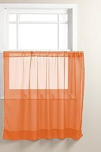 "Graceful 36"" Short Panel Solid Sheer Window Curtain Rod Pocket 58"" Wide (Orange)"