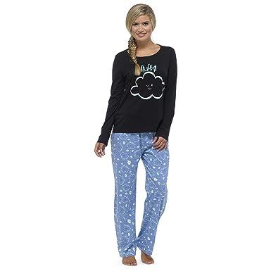 Womens Ladies Jersey Long Sleeve Pyjama 2pc Set PJ Loungewear Nightwear  Cute Fun c535cd204