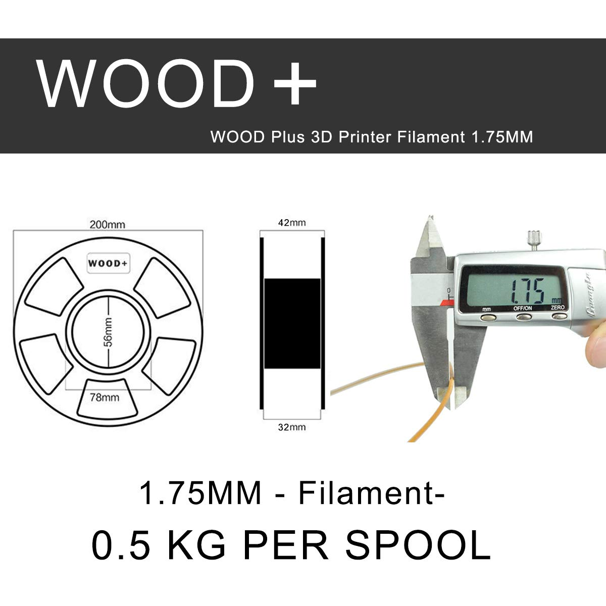 EKOHOME 0.5KG//180m 3D Filament for 3D Printer // 3D Print Pen Tactile Feel of Wood 3D Print Filament Wood PLA+ 1.75mm Wood 0.5KG Vacuumed Packed -0.02mm Tolerance RoHS Approved and Non-toxic