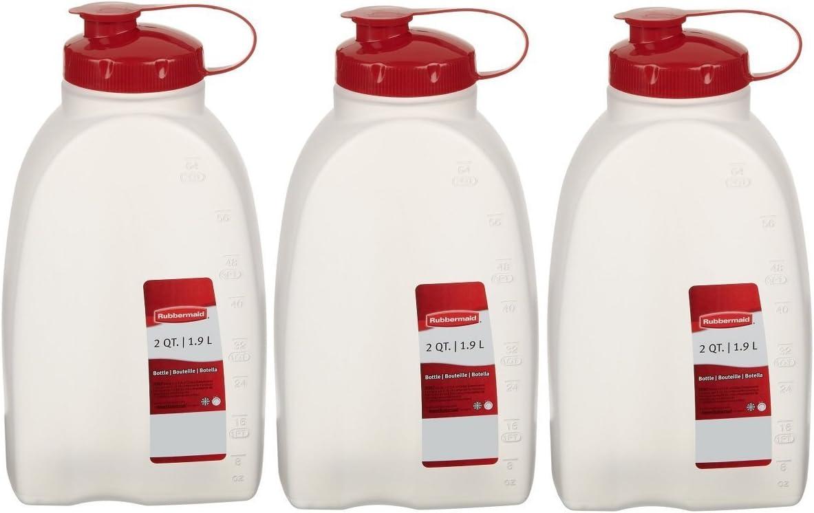 Rubbermaid 712395881385 Servin Saver White Bottle, Plastic, 2 Qt./1.9 Lt (Pack of 3), 3 Pack, Clear, 3 Pack
