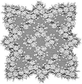 product image for Heritage Lace Tea Rose 30-Inch by 30-Inch Table Topper, White