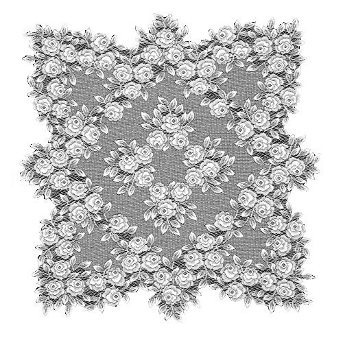 Heritage Lace Tea Rose 30-Inch by 30-Inch Table Topper, Ecru