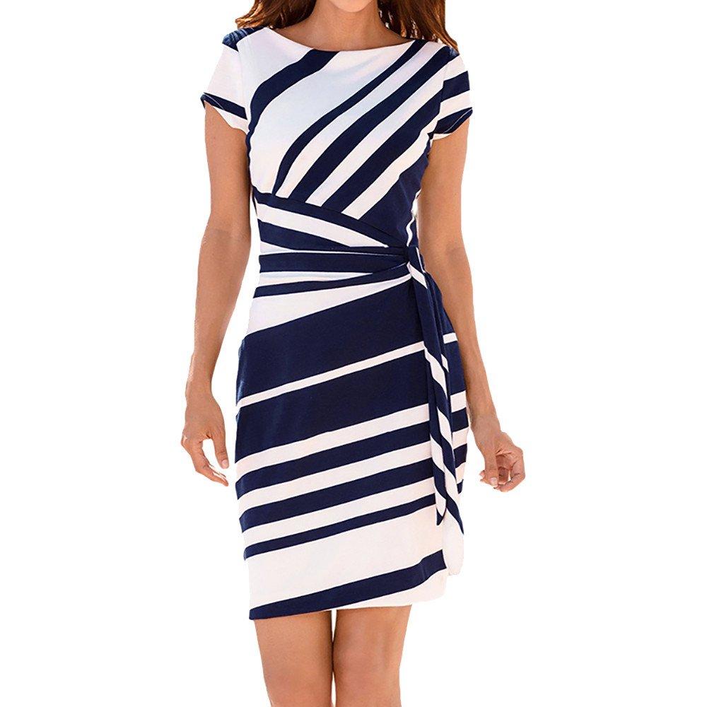 Women's Short Sleeve O Neck Elegant Straps Party Stripe Dress Vintage Cocktail Blue