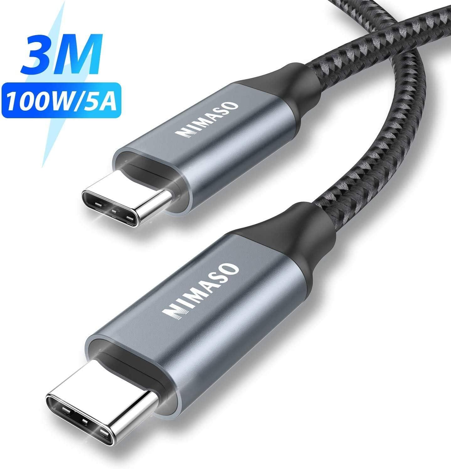 NIMASO USB C a USB C Cable 3M,Cable Tipo C de Carga Rápida 100W 20V/5A PD con E-Mark Chip y Cable de Datos para MacBook,MacBook Pro,iPad Pro 2020/2018,MacBook Air 2020,ChromeBook Pixel,Galaxy S20 S10