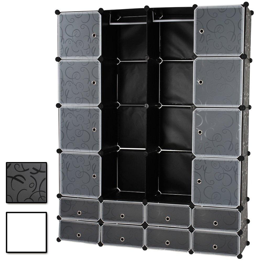 Miadomodo Armadio Modulare   18 Cubi di Plastica, Bianco   DIY, Fai da Te, Scaffale Portaoggetti Portatile, Guardaroba a Scompartimenti con Ante, Modular Storage