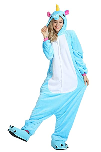 Mystery&Melody Disfraz de Unicornio Adulto arcoíris para Mujer Chicas Pijama de Navidad Animal Navidad (Blue