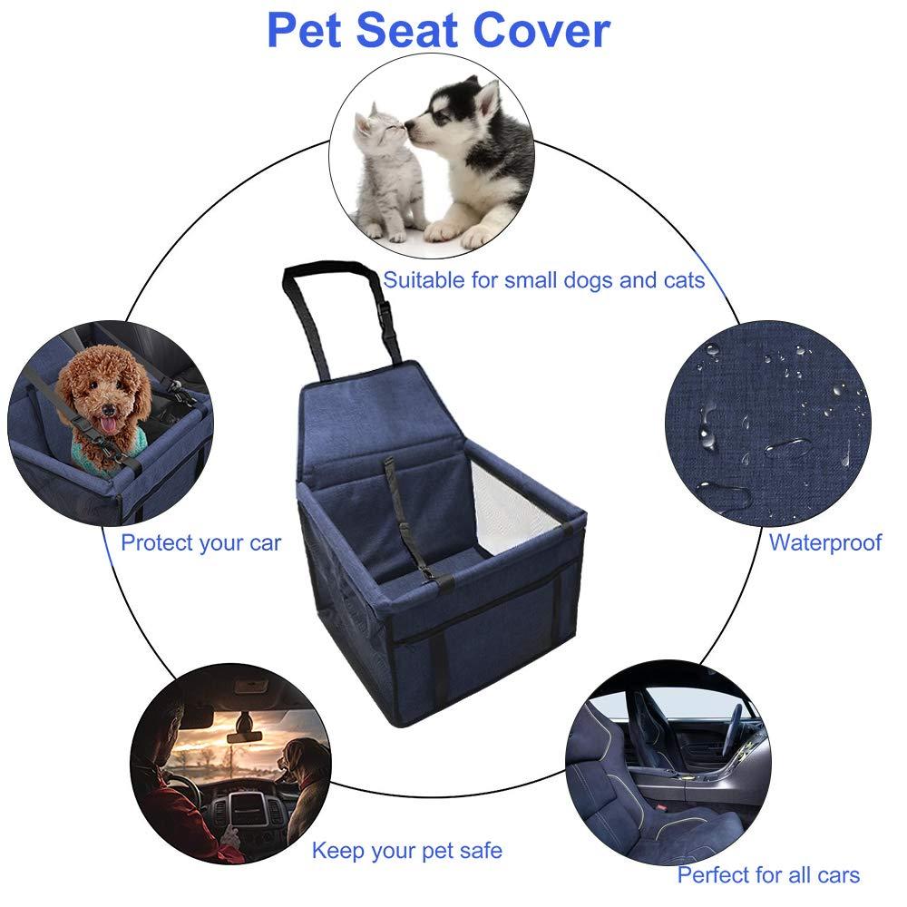 IvyLife Auto-Hundesitz f/ür Kleine Hunde oder Katzen Transporttasche verstellbar aus Oxford-Stoff Wasserdicht Atmungsaktiv Haustier Sicherheit Auto Sitz Doppelt Schicht Verdickt Haustier