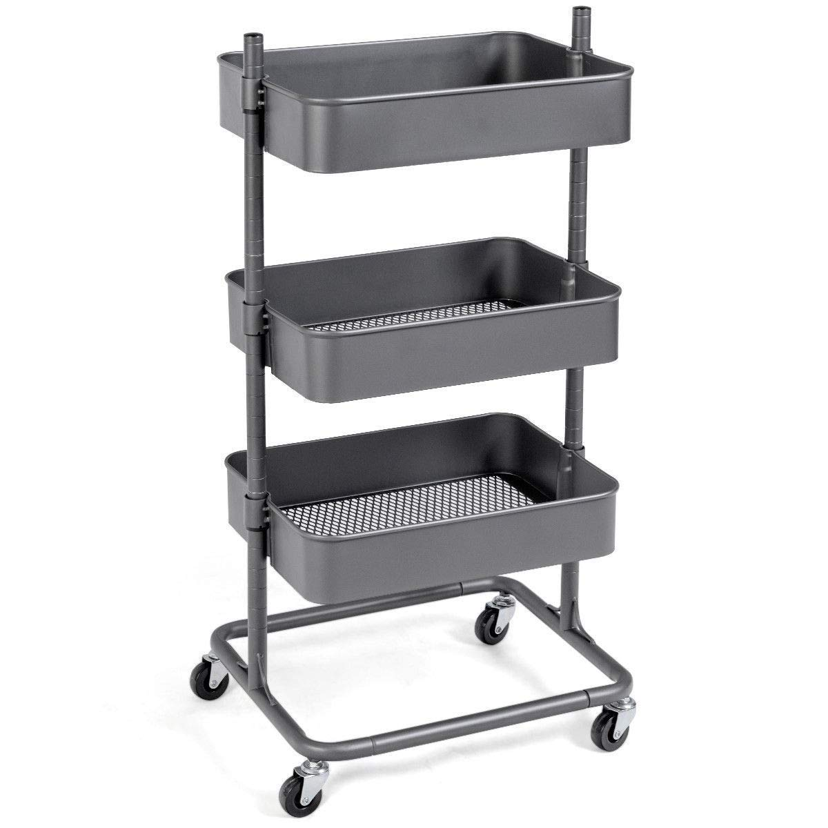 GHP 15.5''x18''x35'' 165-Lbs Capacity Steel 3-Tier Rolling Storage Cart with 4 Casters