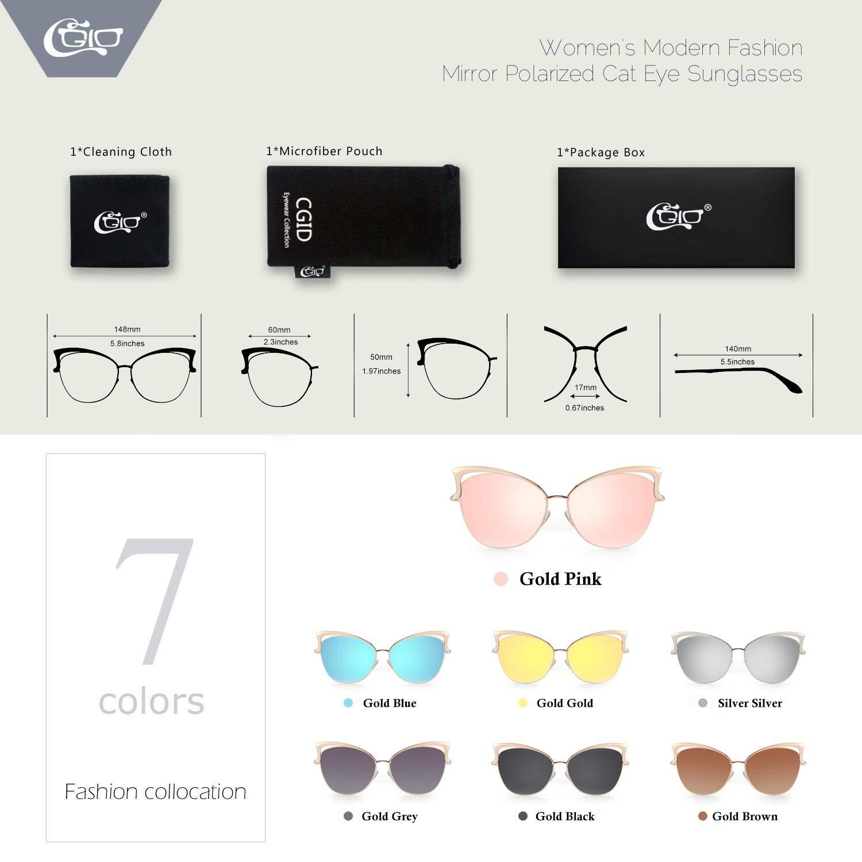 CGID MJ23 Occhiali da Sole Donna Moderni Fashion a Specchio Occhio di Gatto Lenti Polarizzate UV400