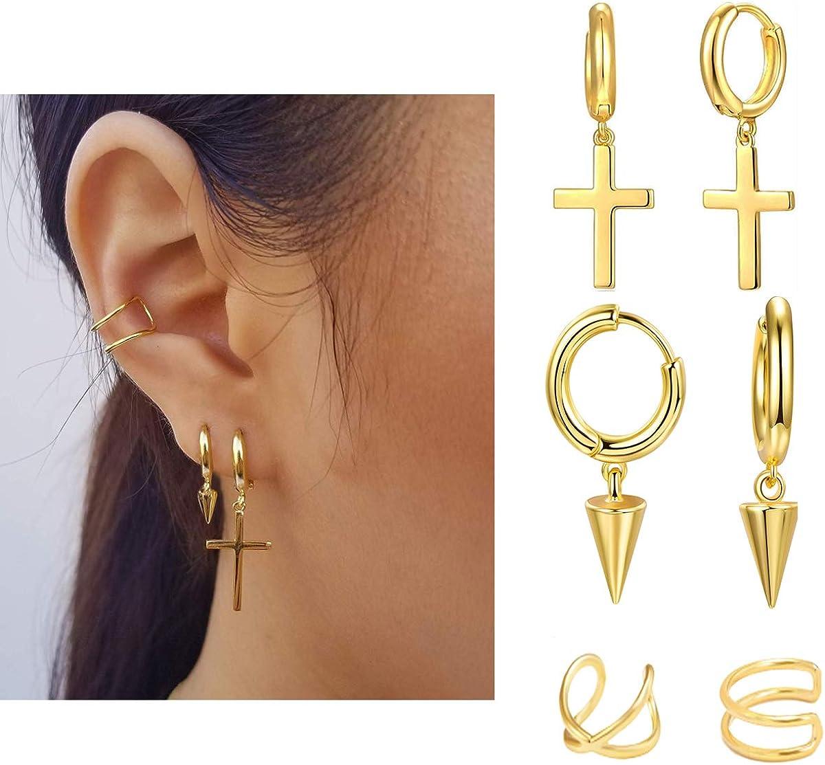 Gold Spike Drop Earrings