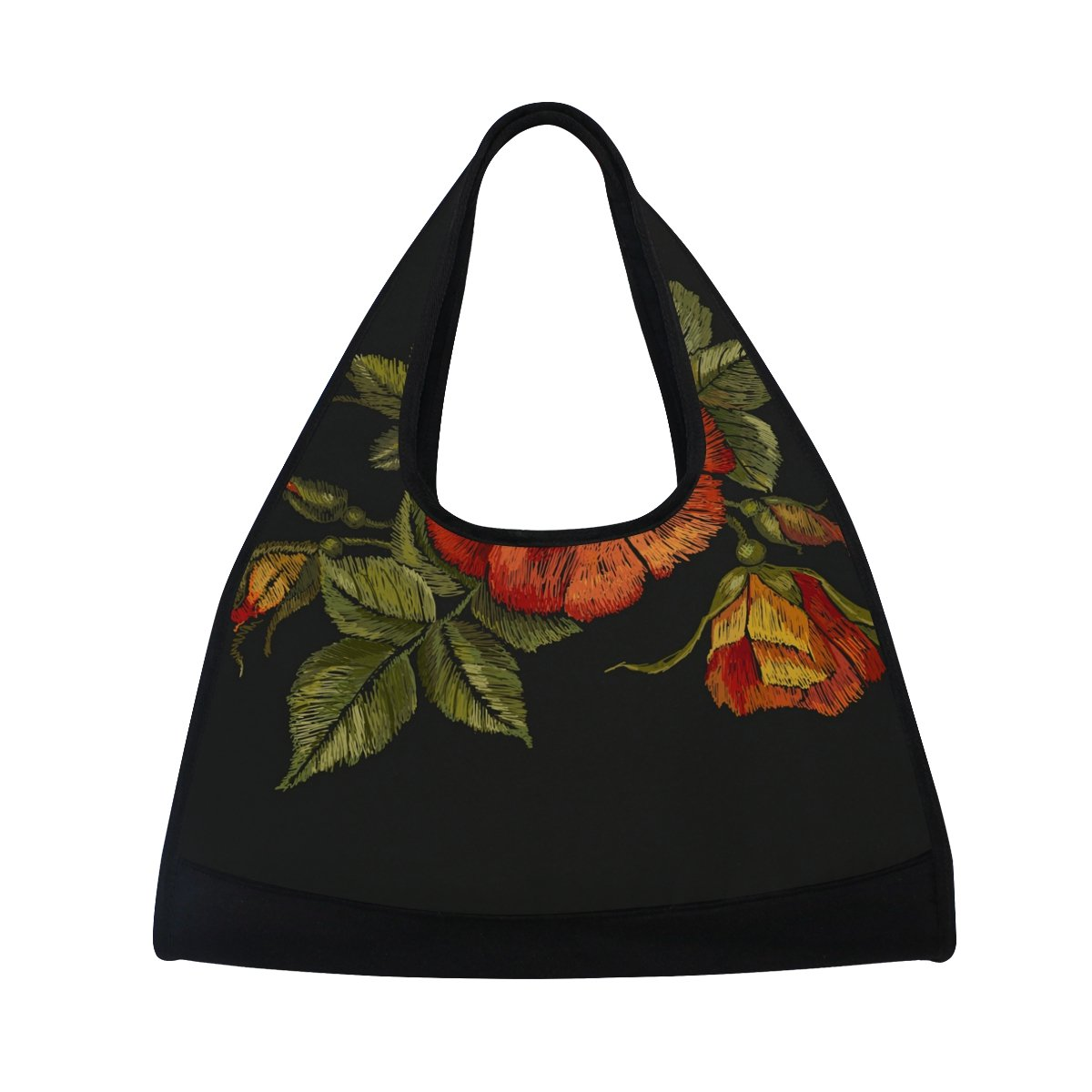 AHOMY Sports Gym Bag Poppy Flowers Leaf Embroidery Duffel Bag Travel Shoulder Bag
