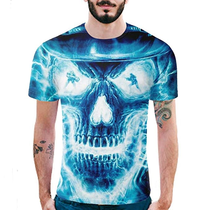 Camisa de Manga Corta de la Camiseta de la Manga de la Camiseta de la impresión del cráneo 3D para Hombre de Internet: Amazon.es: Ropa y accesorios
