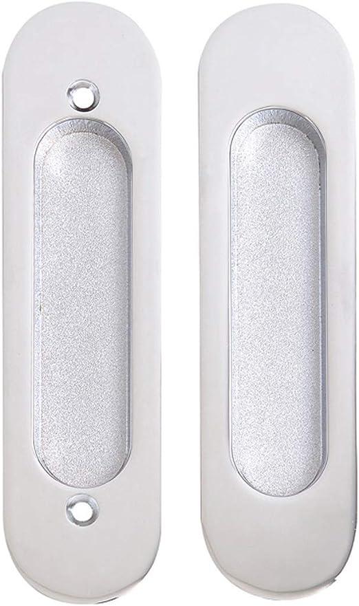 Tirador de Puerta Tirador Oculto de aleación de Zinc Tirador de Puerta Deslizante Incorporado Tirador de Granero Ovalado Negro Grosor Adecuado 39-44 mm (Color : Silver): Amazon.es: Hogar