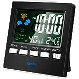 湿度計 デジタル温湿度計 LCD大画面温湿度計 アラーム 卓上電子温湿度計 ホーム 気象計 音声センサー バックライト機能付き 測定器 (ブラック)