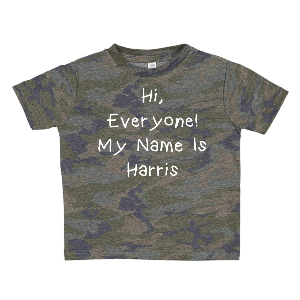 Mashed Clothing Hi Personalized Name Toddler//Kids Short Sleeve T-Shirt My Name is Harris Everyone