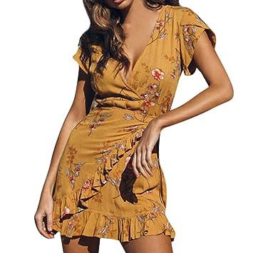 Women/'s Airy Summer Dress Beach Sleeveless Backless Loose Neck Chiffon Mini