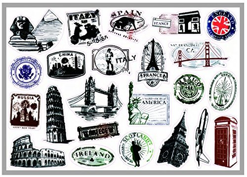 T&B Multi Countries Retro Vintage Stamps Postmark Code Landmark Monument Patterns Stickers Luggage Suitcase Laptop Waterproof Stickers Children's Room Decor Labels A3#5