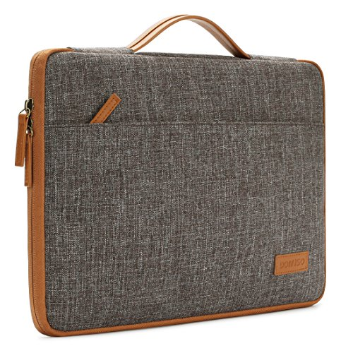 "DOMISO 14 Inch Laptop Sleeve Canvas Notebook Portable Carrying Bag Case Handbag for 14"" HP / Microsoft / Apple / Lenovo / Acer / ASUS / Dell , Brown"