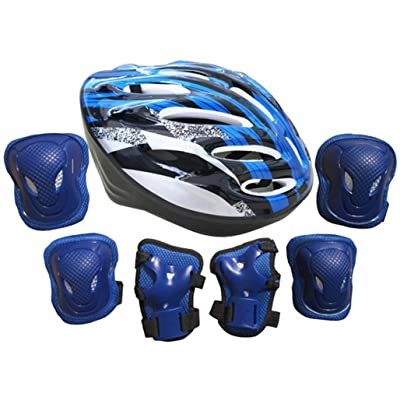 AutumnFall Adults Knee Pads Wrist Roller Elbow Blading Blades Pad Guards + Helmet Set (Blue) : Sports & Outdoors