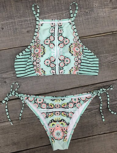 Cupshe Fashion Women's Garden Fresh Printing Tank Padding Bikini Set (S)