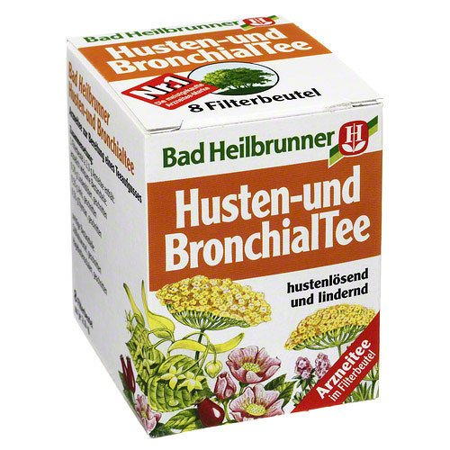 Bad Heilbrunner Husten- und Bronchial Tea / cough and bronchial tea (4 Packs each 8 Teabags) - fresh from Germany