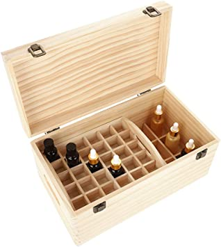 Caja de madera para aceites esenciales, 66 ranuras de doble capa, organizador de aceites esenciales, caja de almacenamiento, contenedor para presentaciones de viaje, caja de regalo: Amazon.es: Salud y cuidado personal